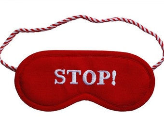 Stop blindfold, Road sign sleep mask, Man blindfold, Gift for him, Sleeping eye mask, Car driver accesories, Driving license, Red sleepmask