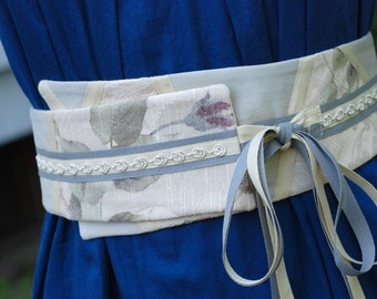 SALE 30% OFF Obi Belt - Vanilla Patchwork lace and flowers