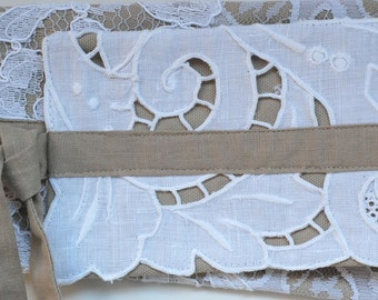 SALE 30% OFF Obi Belt - Lace and Richelieu Embroidery Patchwork