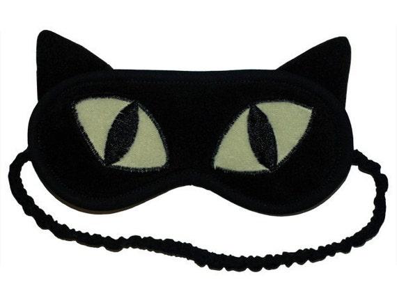Cat sleep mask, Black cat eye mask, Animal blindfold sleeping eye mask, Cat ears sleepmask, Green kawaii gift for her, Gift for him under 20