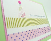 Party Hat Birthday Greeting Card, Handmade Paper Greeting Card, Card for Girl, Card for Her