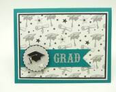 Graduation Card, Congratulations Graduation Greeting Card, Card for Graduate, Handmade Paper Greeting Card, Black and white Graduation