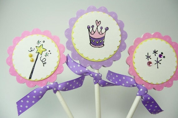 Princess Cupcake Toppers, Little Girl Birthday Cupcake Toppers, Pink and Purple Polka Dot Birthday