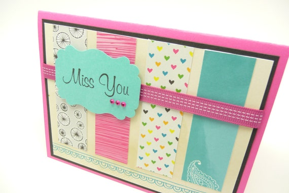 Miss You Greeting Card, Card for Her, Friendship Card, Colorful Greeting Card, Paper Greeting Card
