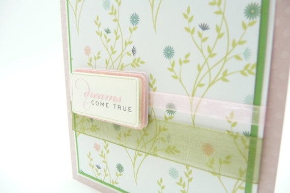Wedding Day Card, Card for Bride and Groom, Handmade Paper Greeting Card, Pastel Pink Card, Classy Wedding Card