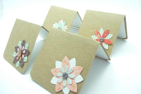 Mini Note Card Set,  Flower Note Cards, Kraft Paper Note Cards, Handmade Paper Greeting Cards