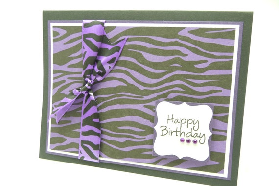 Zebra Print Birthday Card for Her, Animal Print Card, Purple Animal Print, Handmade Paper Greeting Card