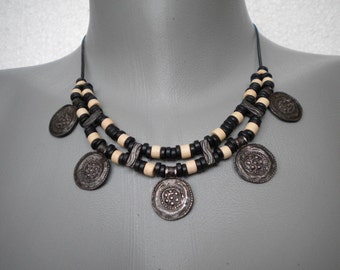Vintage Style Metal Patina Coins Necklace