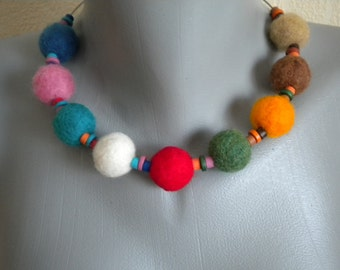 Colorful Felt Balls and Ceramic Beads Necklace