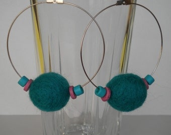 Sale 20% off Turquoise Felt Balls and Ceramic Beads Earrings