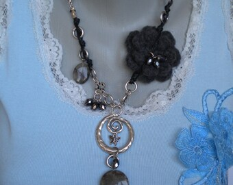 Silver Plated Spiral and Butterfly Semi Precious Stones Crochet Flower Leather Necklace
