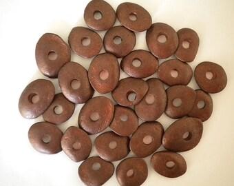 10pcs Cornflake Ceramic Beads Mykonos Greek Brown