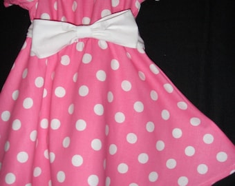 Minnie Mouse pink  polka dot dress(available in sizes 5t and 6)