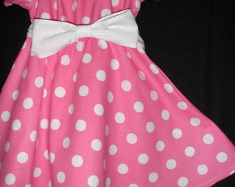 Minnie Mouse Dress SALE 10% off code is tilfeb pink  polka dot dress(available in sizes  12 months, 18 months 2t,3t,4t,