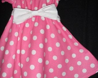 Dress Minnie Mouse dress SALE 10% off code is tilfeb  pink  polka dot dress  twirl dress sizes 12,18 months 2t. 3t 4t.