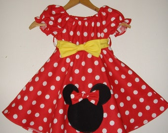 Minnie Mouse dress   with applique  Red   polka dot dress(available in sizes 5T, 6 or 7