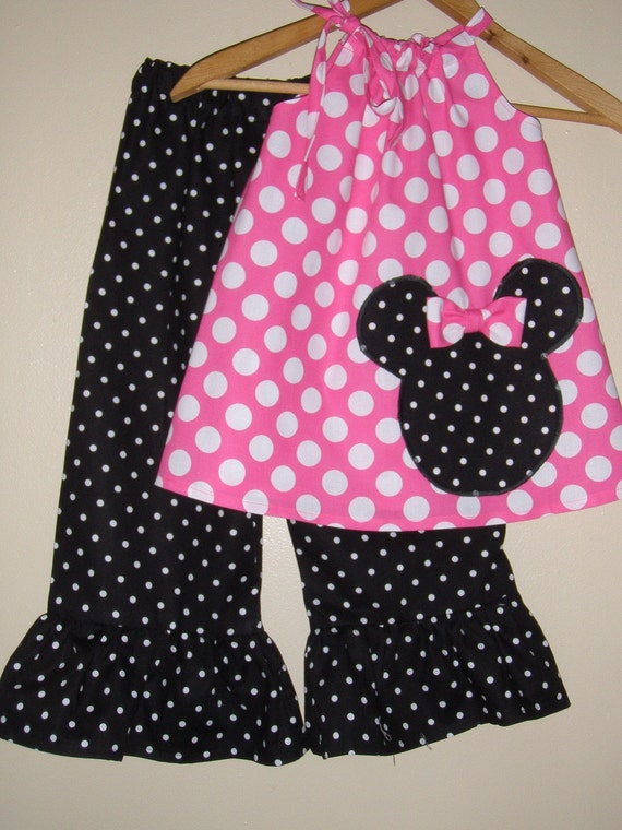 Minnie Mouse pink  polka dot swing top and ruffled pants (available in sizes   5 or 6 )