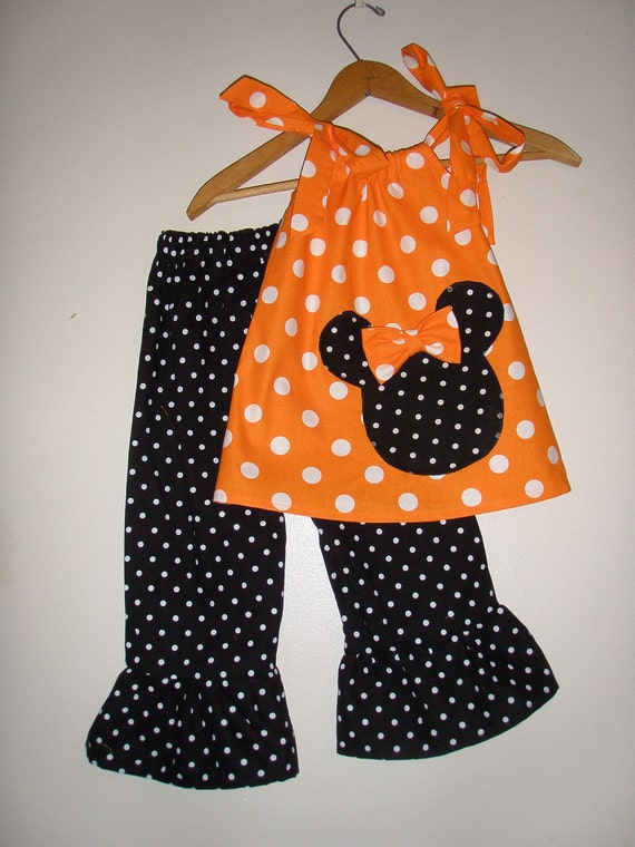 Minnie Mouse Orange  polka dot swing top and ruffled pants (available in sizes 1, 2, 3 or 4 )