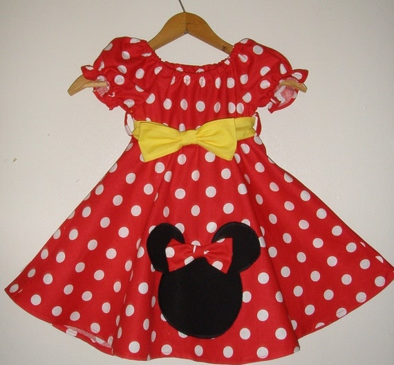 Minnie Mouse dress with applique  RED  polka dot dress(available in sizes 1 to 4)