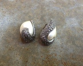 Vintage Faux Pearl, Silver, and Marcasite Clip-On Earrings