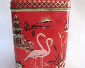 Vintage Red Tin Box with Pink Flamingos