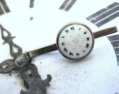 Enamel Clock Tie Bar Roman Numerals