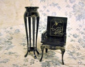 Miniature Asian Chair and Table in Black Wood