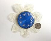 Antique Guilloche Compact Powder 10K Gold in Blue Enamel