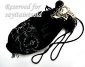 Black Velvet and Silver Bead Drawstring Purse