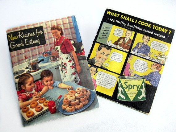Vintage Cookbooks, Crisco and Spry, 1940s