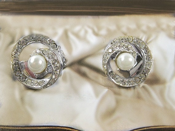 Bellini Clip Earrings, Pave Rhinestone and Simulated Pearl, Bridal