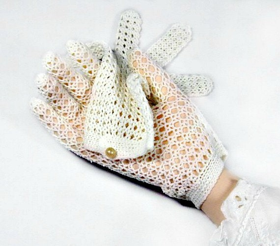 Vintage Ivory Fishnet Bridal Gloves Pearly Wrist Button Chenille Crochet Lace
