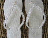 Bride-To-Be (Bridal - Wedding Party) Off White (Cream, Ivory) Pearl, Metallic Flip Flops with Sequin and Pearl Flowers - Size 8 (Women's)