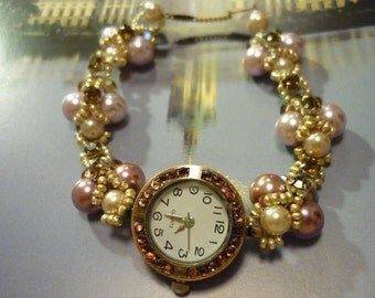 My Champagne Notebook PC Beaded Watch