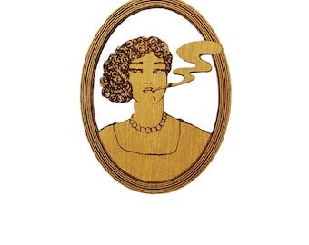 INGRID - gold, walnut brooch