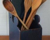 Antique Salt Box Primitive Wooden Wall Door Desk Recipe Tea Kitchen Organizer Holder Suggestion Blue Wood Fathers Day