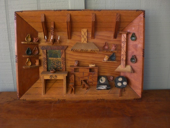 Kitchen Diorama Made Of Cereal Box: Vintage Diorama Shadow Box Shrine 3D Dimensional Wood Wooden