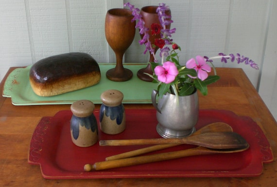 Set 2 Vintage Bentwood Tray Primitive Red Jadeite Serving Display Barware Beverage Dresser Shabby Cottage Chic Wood Wooden Trays