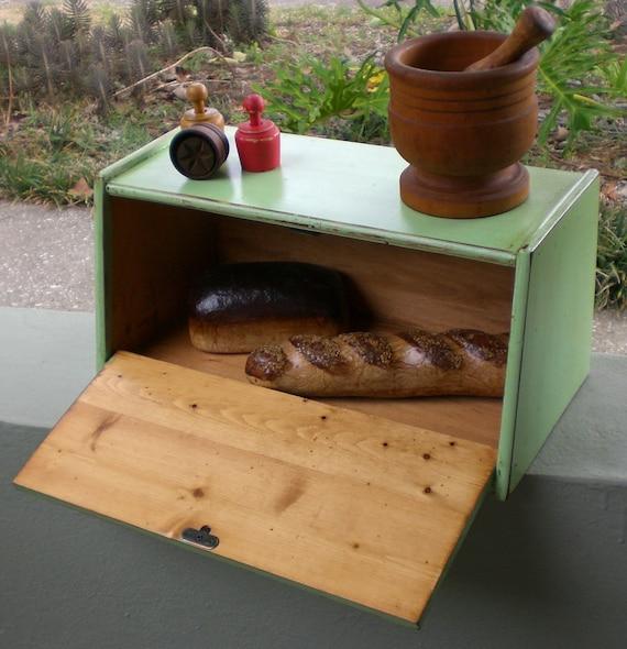 Vintage Wooden Bread Box Primitive Cottage Cabin Lodge Shabby Kitchen Wood Countertop Office Desk Storage Organizer