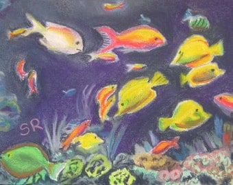 The Reef, pastel on paper