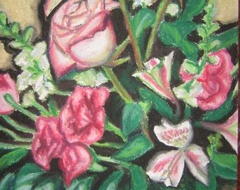 flowers still life, pastel