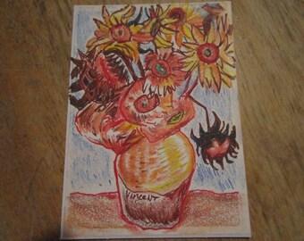 Mini Masterpiece,- ACEO art trading card - Original artwork, Van Gogh, Sunflowers (not a print)