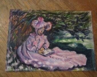 Mini Masterpiece,- ACEO art trading card - Original artwork, Claude Monet, The Reader(not a print)