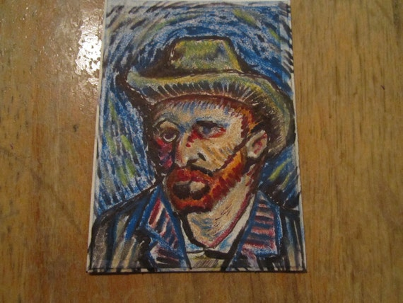 Mini Masterpiece,- ACEO art trading card - Original artwork, van gogh self portrait (not a print)