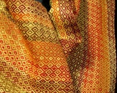 handwoven scarf in bamboo and cotton, orange (01030)