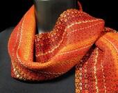 hand woven bright red scarf designer loom weave handwoven luxury brilliant summer sun orange yellow black brown bamboo cotton