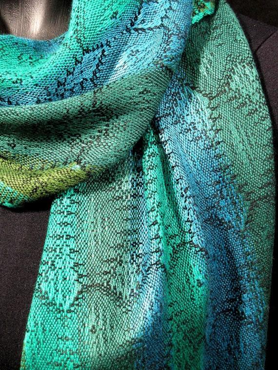 Stunning Handwoven Scarf, Blue Green Hand Woven Scarf, Bamboo / Soysilk