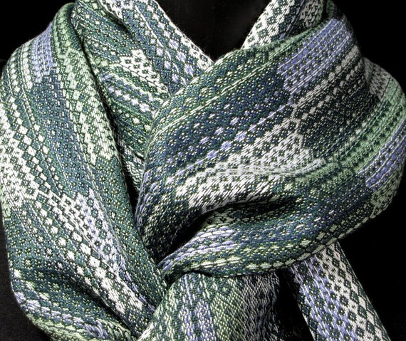 handwoven man scarf, geometric pattern rectangles,  silver gray green navy blue hand woven scarf, Loom On The Lake