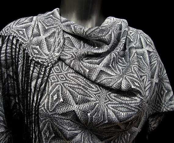 Handwoven Shawl, Snowflake Pattern, Silver Gray Black Bamboo, Hand Woven Wrap, Dressy Evening Wear Stole