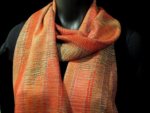 handwoven scarf, copper gold bronze, hand woven scarf, fall colors, autumn scarf, burnt orange scarf, wedding gift,  Loom On The Lake design